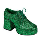 JAZZ02G/GRN Men's Disco St. Patty's Green Glitter Platform Pimp Costume Shoes