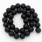 """Matte Frosted Smooth Faceted Black Onyx Gemstone Round Beads Jewelry 15.5"""""""