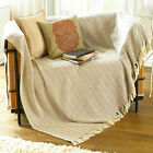Herringbone 100% Natural Cotton Fringed Throw Chair or Sofa, Cream & Natural