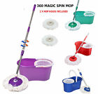 360° Magic Spin Mop & Bucket Set Microfiber Rotating Dry Head 2 Heads Included