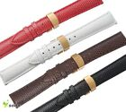 12~20mm Real Leather Lizard Grain Gold Push Deployment Steel Clasp Watch Strap