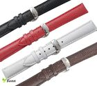 12~20mm Leather Lizard Grain Push Butterfly Stainless Steel Clasp Watch Strap