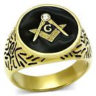 GOLD PLATED 316 STAINLESS STEEL ROUND MASONIC FREEMASON RING TOP GRADE CRYSTAL