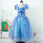 UK Seller Princess Cinderella Cosplay Costume Kids Party Fancy Dress 3-8 Years