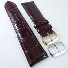 HQ 24MM 24/20 MM GLOSSY BLACK OR BROWN ITALY LEATHER WATCH BAND CROC GRAIN STRAP