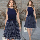 Charming Lady Vogue Wear To Work Belted Polka Dot Party Chiffon Tunic Dress USJB