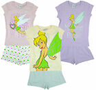 Girl's Tinkerbell Fairy Dreaming Hearts Summer Shorty Pyjamas 2 4 6 8 Years NEW