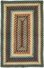 Jute Braided Area Floor Rug Rectangle Blue Orange Green Cottage Cabin Rustic