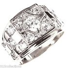 6 mm 925 Sterling Silver Clear April Stone CZ Men's Ring Jewelry Size 8-14