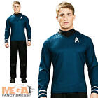Dr Spock Shirt Mens Fancy Dress Star Trek Blue Sci Fi Uniform Adults Costume New