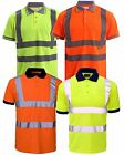 NEW HI VISIBILITY HIGH VIZ SHORT SLEEVE SAFETY WORKWEAR COLLAR POLO T-SHIRT 8-20