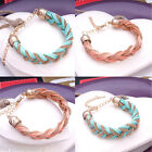 Ladies Fashion Gold Metal Chain & Rope Twist Bracelet Jewellery For Women Girl