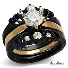 1.50 CT ROUND CUT CZ BLACK STAINLESS STEEL WEDDING RING SET WOMEN'S SIZE 5-10