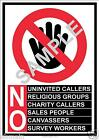 LAMINATED DOOR SIGNS-NO COLD CALLERS CHARITY RELIGIOUS SALES SURVEYS CANVASSING