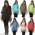 Italian Lagenlook Quirky 2 Pcs Mesh Net 3D Floral Lace Scarf Top Plus Size 12 20