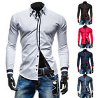 New Fashion Mens Casual Slim Fit Long Sleeve Shirts Hit Color Placket 5-Color