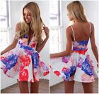 Sexy Women Floral Plunge Vneck High Waist Flare Prom Cocktail Party Club Dress A