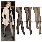 Black floral zig fishnet stripe pattern lace pantyhose tights