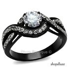 1.65 CT ROUND CUT AAA CZ BLACK STAINLESS STEEL ENGAGEMENT WEDDING RING SIZE 5-10