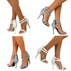 Womens Strappy Stiletto High Heel Sandals Ankle Strap Cuff Peep Toe Bridal Shoe
