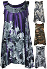 Ladies New Plus Size Sleeveless Sequin Print Vest Womens Sequined Long Top 14-28