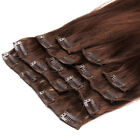 Grade 7A Clip In On 100% Brazilian Remy Human Hair Extensions Thick 160g Brown