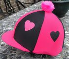 Lycra Riding Hat Silk Skull cap Cover HOT PINK & BLACK HEARTS With OR w/o Pompom