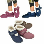 WOMENS DUNLOP VELCRO ORTHOPEDIC WIDE FIT WASHABLE SLIPPERS ANKLE BOOTIES SIZE