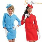 Ladies Cabin Crew Air Hostess Stewardess Fancy Dress Costumes - Red & Blue