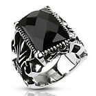 Stainless Steel Large Faceted Rectangular Black CZ Gothic Style Ring