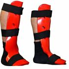 TurnerMAX Shin Instep Pad Dipped Foam Guard Leg Protective Sparring Gear Red