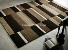 Jazz Blocks Natural Brown Beige Luxury Wool Rug in various sizes and runner
