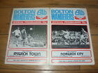 Bolton Wanderers Home Football Programmes 1978/1979 Season