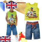 UK Seller xz127 Sleeveless Boys Pirate Boat Cotton Top T shirt Jeans Set 0-5 Y