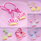 Pair Of Girls Kids Childrens Crown Hair Ponies Elastic Bobbles Head Accessories