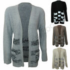 ladies Cable knitted Aztec Stripes Print boyfriend Knitted Open Cardigan Jumper