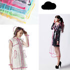 Clear Transparent Hooded Rain Coat Ladies Womens Girls Rainwear Rainsuit Travel
