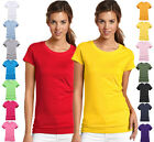 NEW WOMEN'S GIRLS PLAIN T SHIRT CREW NECK SUMMER T-SHIRT 100% COTTON UK 8 - 22