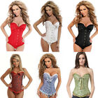 Women's Sexy Lace up Back Satin Boned Corset Bustier G-string Size S-4XL US Ship