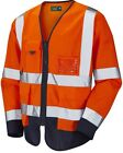 HI VIS VIZ EXECUTIVE SAFETY RECOVERY  WAISTCOAT VEST LONG SLEEVE ORANGE / NAVY
