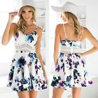 Women Hollow Out Waist Crochet Floral Print Party Cocktail Club Beachwear Dress