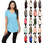 IRON PUPPY Women's S/Slv Solid V-Neck MODAL Tunic Soft Casual T-Shirts Top-USA