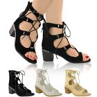 LADIES WOMENS LACE UP GLADIATOR LOW BLOCK HEEL ANKLE BOOTS CUT OUT OPEN SIZE