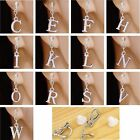 #C023 New One Pair of Alphabet Initial Letter Clear Crystal Clip On Earrings