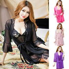 1Set Women Sexy Lingerie Lace Gauze Sleepwear Babydoll Bathrobe S-M