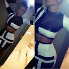 White&black Pu Leather Long Sleeve Crop Top Skirts 2pcs Cocktail Dress S M L