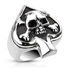 Stainless Steel Spade Ace Crossbone Death Skull Ring