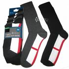 10 Pairs Men's Ex Store England St George Flag Cotton Rich Black Socks Size 6-11