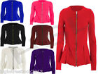 Women Ladies New Plain Zip Peplum Frill Tailored Blazer Jacket Coat 8 - 14