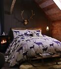 Catherine Lansfield Navy Flannelette Grampian Stag Duvet Quilt Cover Set